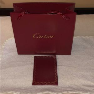 Authentic Cartier shopping bag & certificate cover